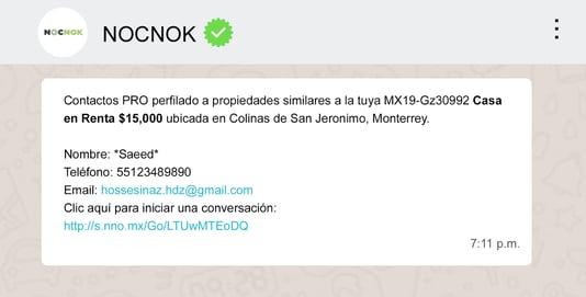 Mensaje de Whatsapp de Nocnok