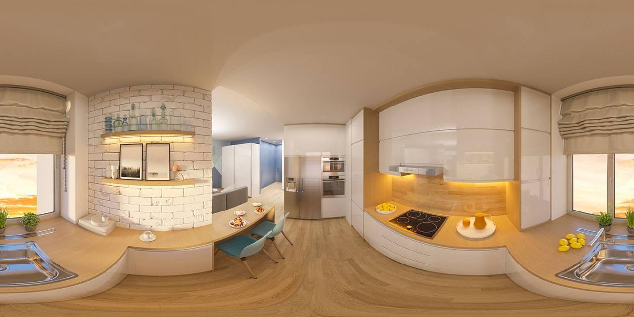 Foto panorámica 360° de una cocina